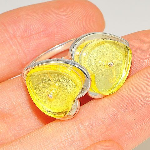 Sterling Silver Baltic Citrine Amber Hearts Ring