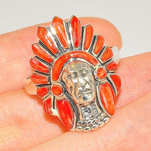Native American Sterling Silver Red Coral Zuni-Made Head Dress Ring