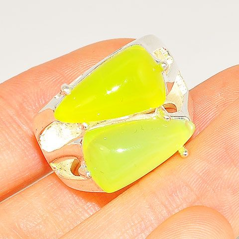 Sterling Silver Bright Yellow Agate Duet Ring