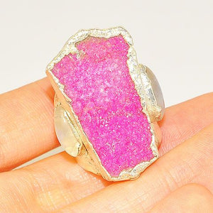 .999 Fine Silver Pink Druzy, Moonstone and Garnet Ring