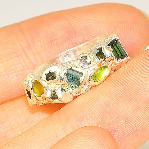 .999 Fine Silver Green Tourmaline Ring