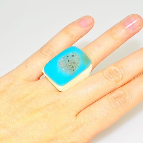Blue Druzy and Carved Bone Ring
