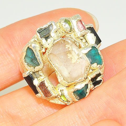 .999 Fine Silver Quartz, Tourmaline Ring