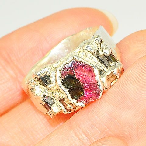 .999 Fine Silver Watermelon Tourmaline and Tourmaline Crystal Ring