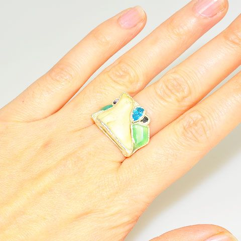 .999 Fine Silver Carved Bone, Aventurine and Blue Topaz Seal Ring