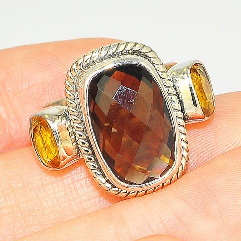 Sterling Silver Faceted Smoky Quartz and Citrine Ring