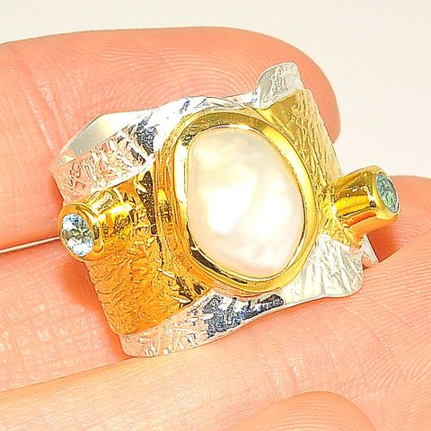 Sterling Silver and 22 K Gold Vermeil Pearl and Blue Topaz Ring