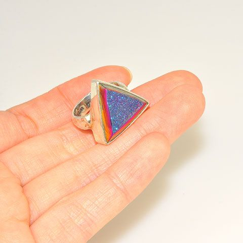 Sterling Silver Titanium Druzy Triangle Ring