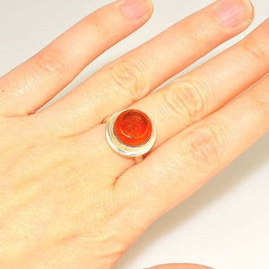 Sterling Silver Baltic Honey Amber Button Ring