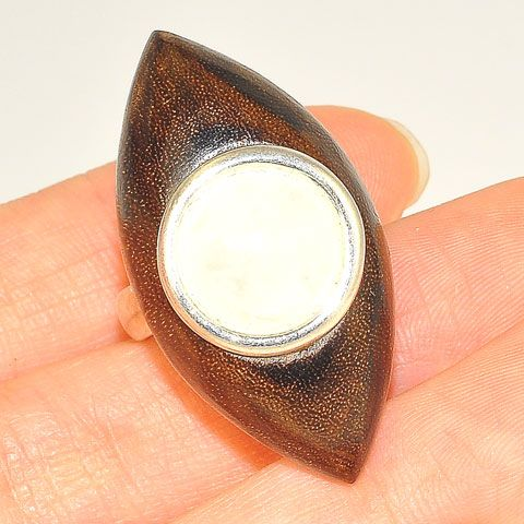 Sterling Silver Wood and Quartz Ring