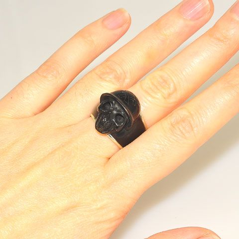Sterling Silver and Buffalo Horn Skull Ring