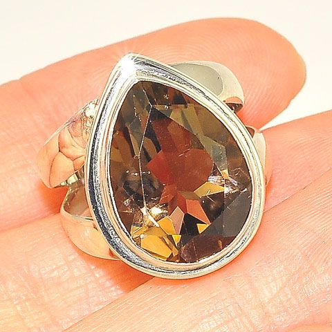 Sterling Silver 5.5-Carat Smoky Quartz Pear Ring