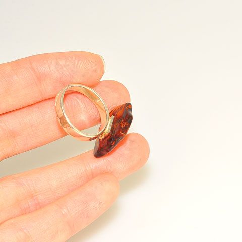 Sterling Silver Baltic Honey Amber Slice Ring