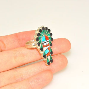 Native American Sterling Silver Malachite, Jet and Coral Zuni-Made Ring