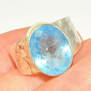 18 K Gold Vermeil and Sterling Silver 5.5-Carat Blue Topaz Ring