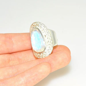 Bold Sterling Silver Glowing Fire Faceted Moonstone Ring (Size 7.5)