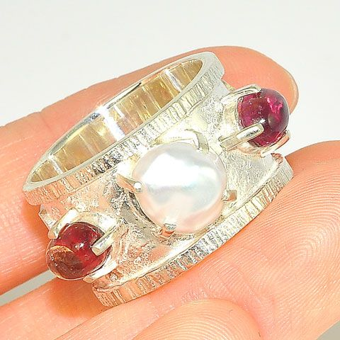 Sterling Silver Pearl and Garnet Trio Ring