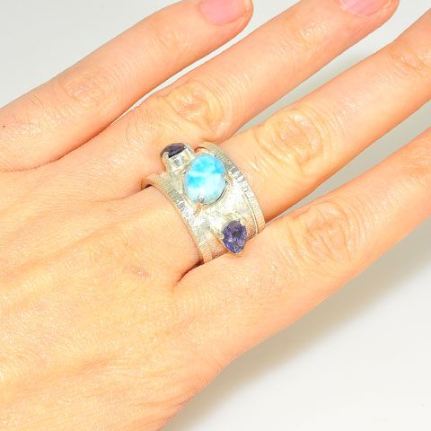 Sterling Silver Larimar and Iolite Trio Ring