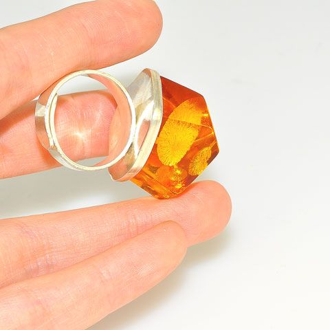 Sterling Silver Baltic Honey Amber Ring