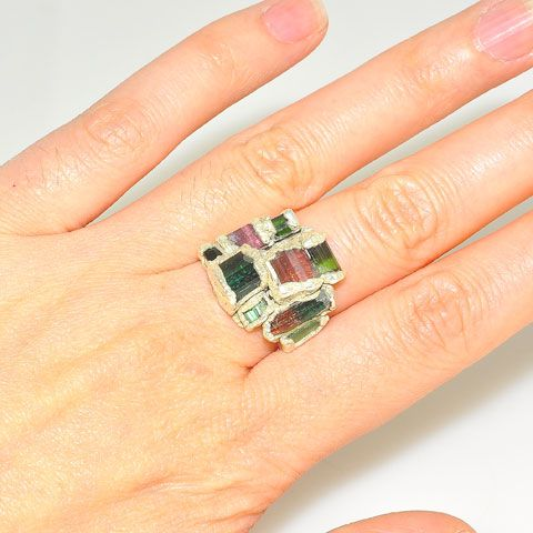 .999 Fine Silver Tourmaline Crystal Ring