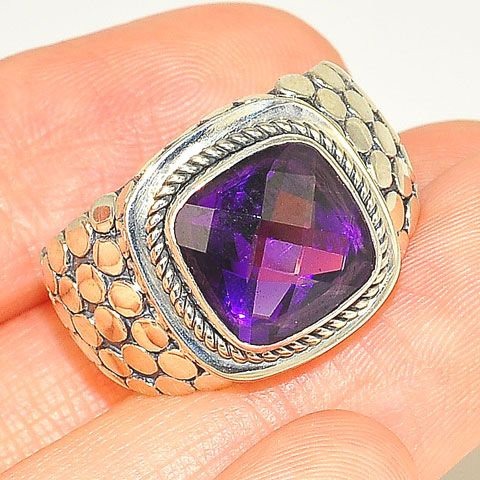 Sterling Silver 3-Carat Amethyst Square Ring