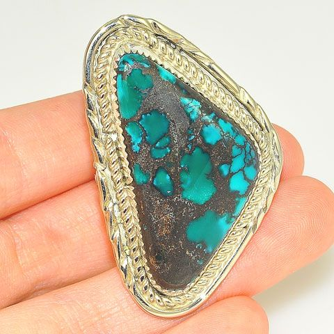 Native American Sterling Silver Turquoise Twist Edge Navajo-Made Ring