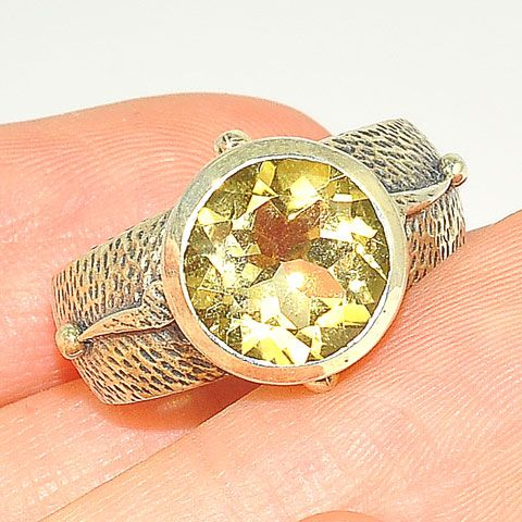 Sterling Silver 1.5-Carat Citrine Solitaire Ring