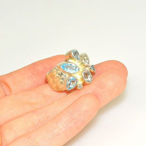 Sterling Silver Blue and White Topaz Ring