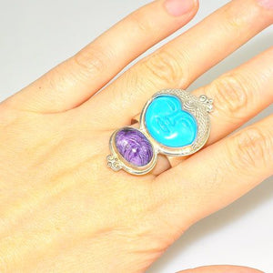 Sterling Silver Turquoise Face and Russian Charoite Ring