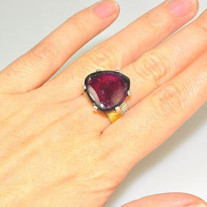 18 K Gold Vermeil and Sterling Silver Tourmaline Ring