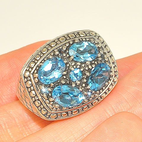 Sterling Silver Multi Blue Topaz Ring