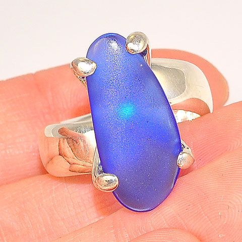 Charles Albert Sterling Silver Blue Beach Glass Ring