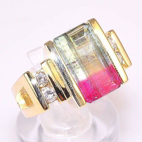 14K Solid Yellow Gold 6.5 c.t. Bi-Color Tourmaline and 0.24 c.t. Diamond Ring