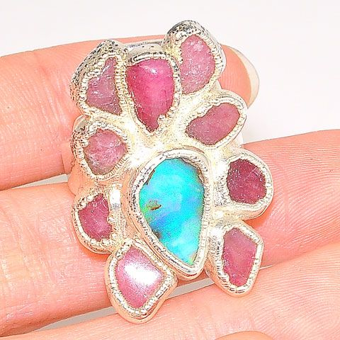 Sterling Silver Ruby and Opal Ring