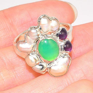 Sterling Silver Chrysoprase, Pearl and Amethyst Ring