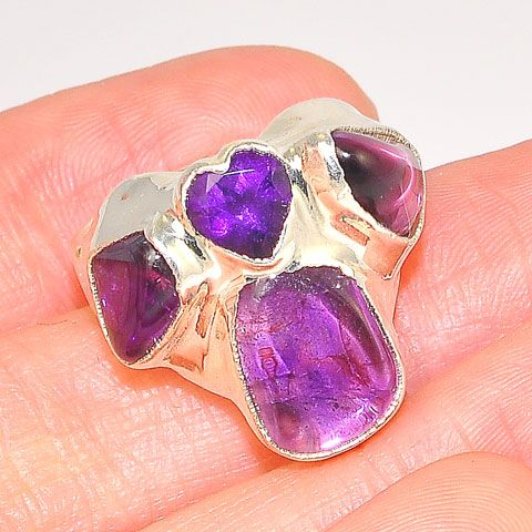 Sterling Silver Multi Amethyst Heart Ring
