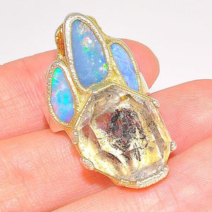 Sterling Silver and 24K Gold Overlay Opal and Herkimer Diamond Ring