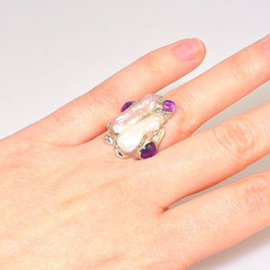 Sterling Silver Biwa Pearl and Amethyst Ring