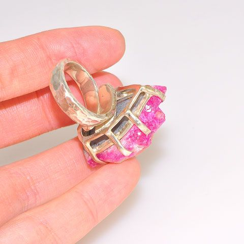 Sterling Silver Pink Druzy Ring