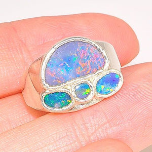 Sterling Silver Multi Opal Ring