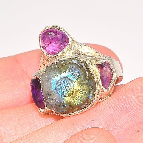 Sterling Silver Carved Labradorite and Amethyst Ring