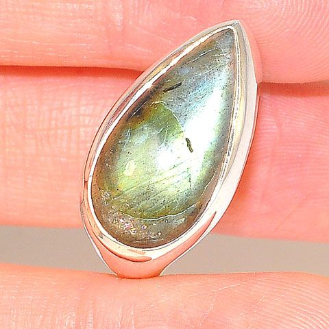Sterling Silver Labradorite Pear Ring