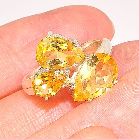 Sterling Silver Citrine Trio Ring