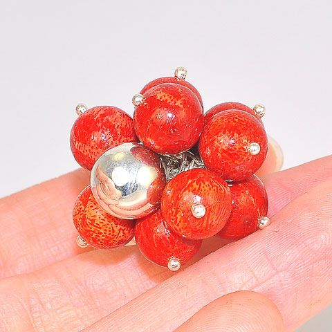 Sterling Silver Red Sponge Coral Bubble Ring (Size 9.5)