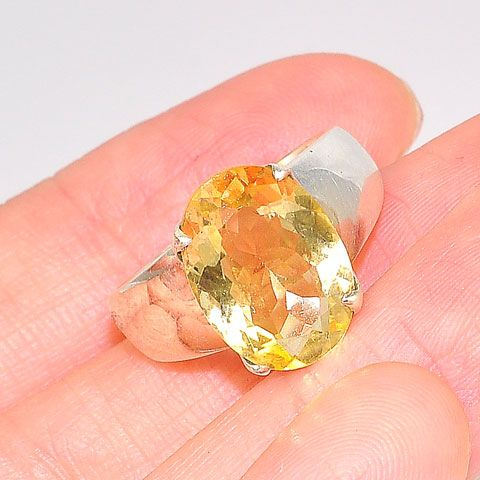 Sterling Silver 3-Carat Citrine Oval Ring