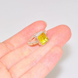 Sterling Silver 1.4-Carat Citrine Step Cut Rectangle Ring