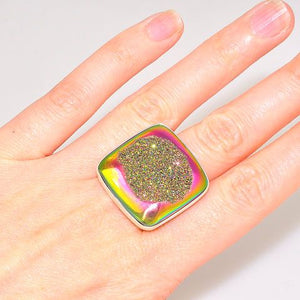 Sterling Silver Titanium Druzy Square Ring