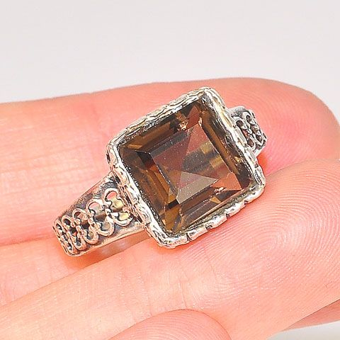 Sterling Silver Smoky Quartz Square Antique Style Ring