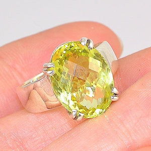 Sterling Silver 6-Carat Citrine Oval Faceted Ring