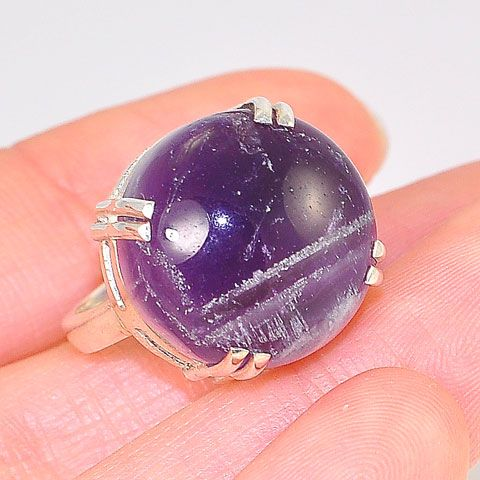 Sterling Silver Amethyst Round Four Prong Ring